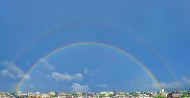 Rainbow arch that appeared in the city