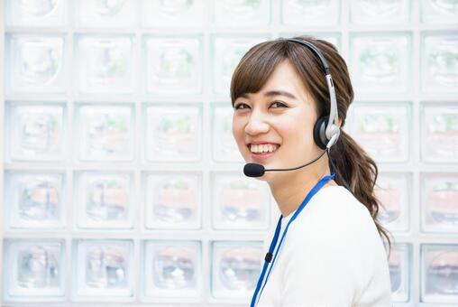 Female employee with a headset 4
