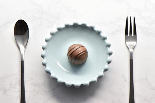 Truffle chocolate and cutlery