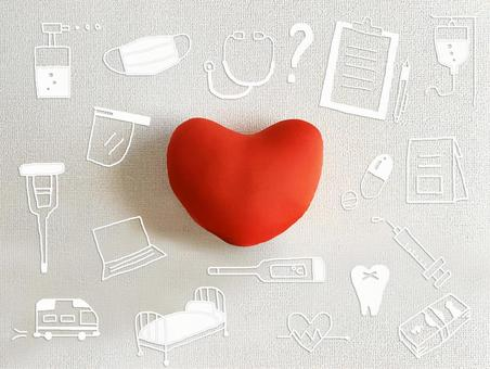 Hospital illustration around white wall and heart cushion