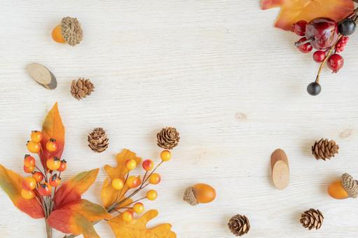 Autumn frame with acorns and pine cones