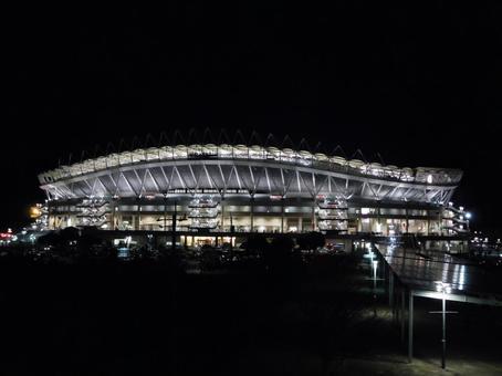 Kashima football stadium at night
