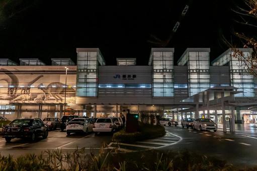 """【후쿠이 현 후쿠이시] JR 후쿠이 역 서쪽 출구 야간 촬영 """"후쿠이 역 택시 승강장"""""""