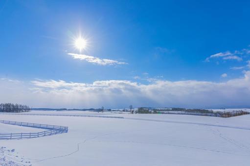 겨울 햇볕과 설원 비 에이 신영의 언덕
