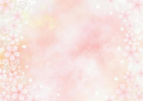 Lame cherry blossoms and fluffy cherry blossoms Watercolor-style frame material (pink x yellow)