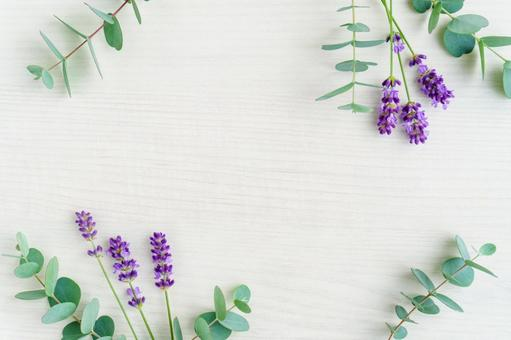 Lavender and eucalyptus wood grain background