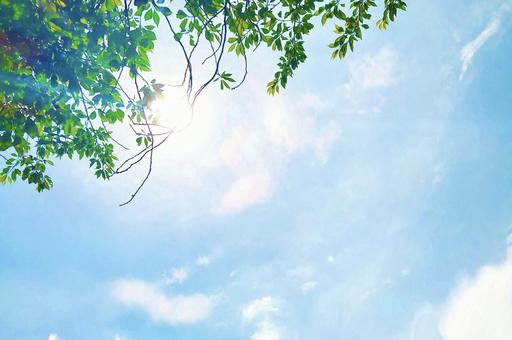 Fresh green and calm sky watercolor style background