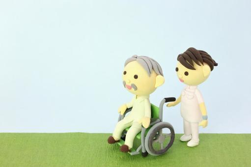 Wheelchair's Old Man and Nurse 1