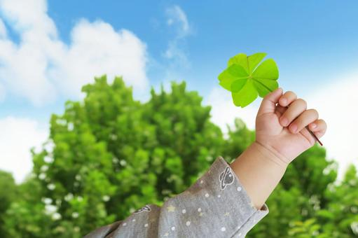 Four leaf clover and blue sky and child
