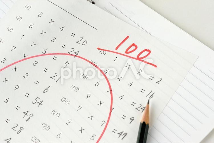 100点のテスト―成績アップイメージの写真