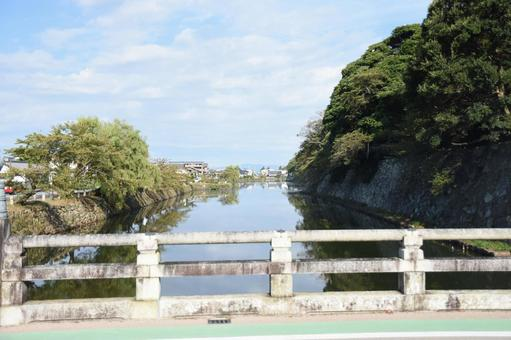 Hikone Castle View northwest from Kyobashi