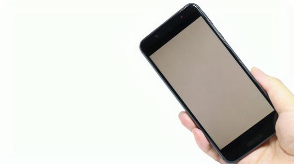 Smartphone right handheld plain white background image