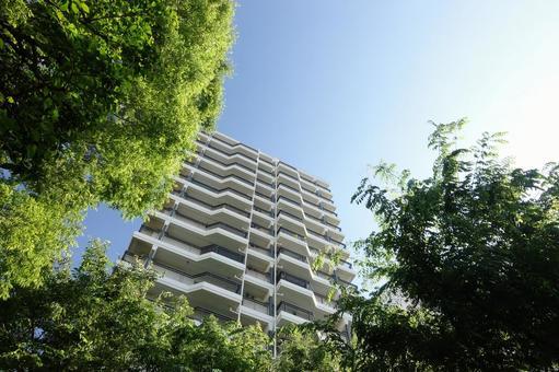 녹색으로 둘러싸인 아파트