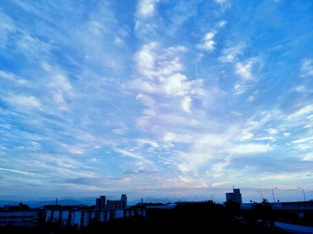 Fantastic magic hour sky background material of blue sky and clouds