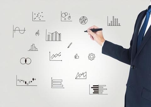 A businessman who writes a graph illustration