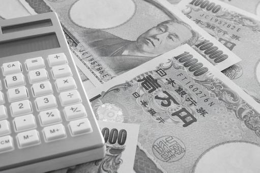 돈과 계산기 흑백