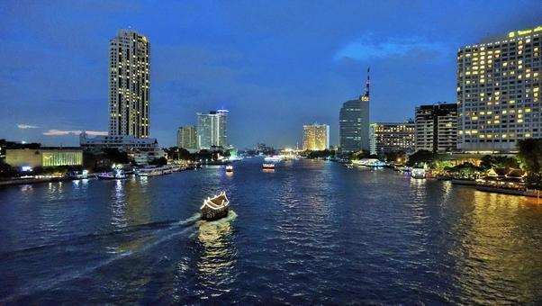 Chao Phraya River night view Bangkok