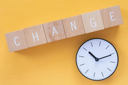 """Changes, reforms, improvements   Blocks and clocks labeled """"CHANGE"""""""