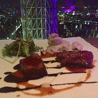 Meals at a beautiful night view restaurant