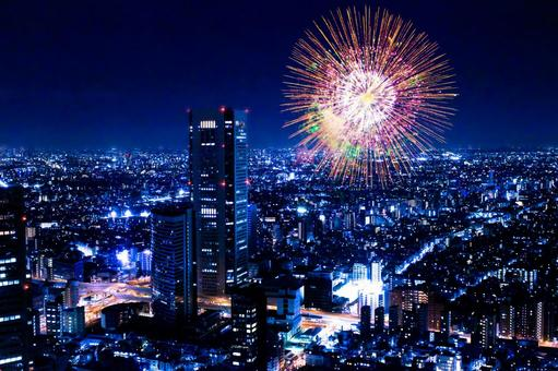 Tokyo night view and a skyrocket fireworks 1