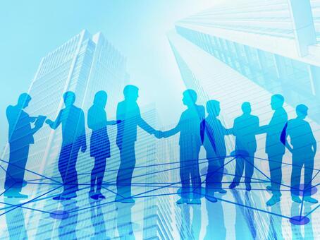 사업의 계약 성립의 악수와 네트워크