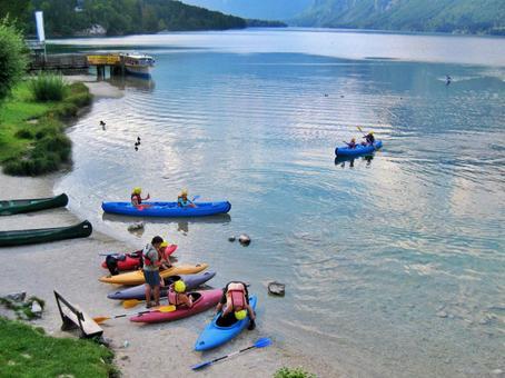 Lake Bohinj and canoe