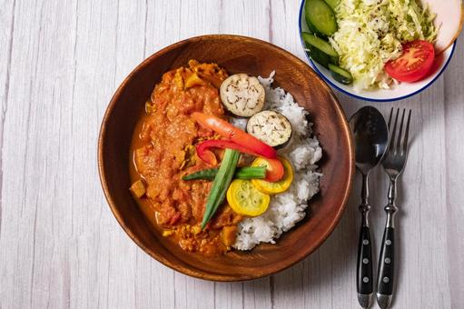 Summer vegetable spice curry green salad white table directly above the bird's-eye view