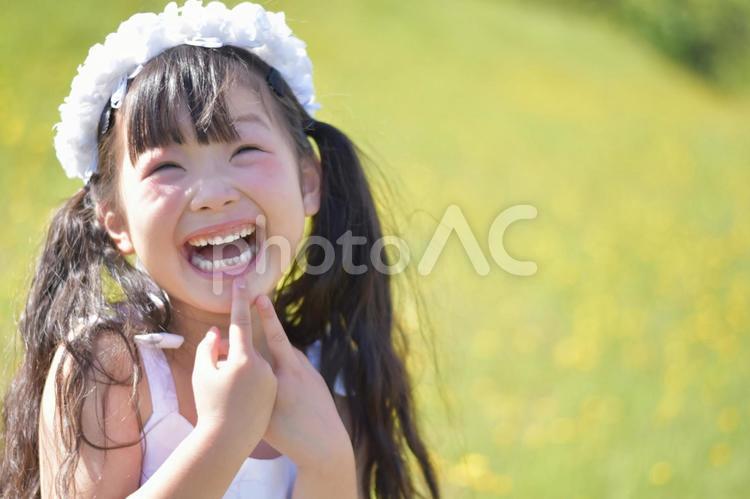 お花とドレスの女の子の写真