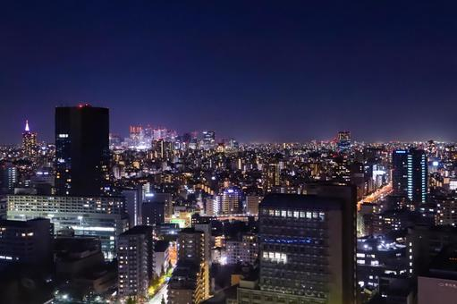 View of the night view of Tokyo