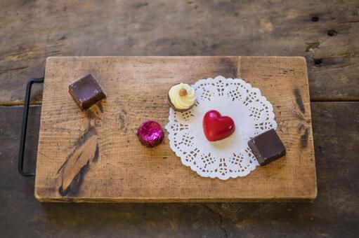 Valentine chocolate _ wooden board
