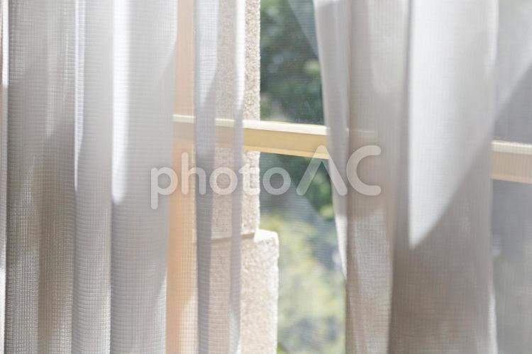 窓とカーテンの写真