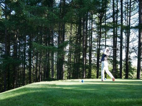 Tee shot at golf course in early morning Hokkaido