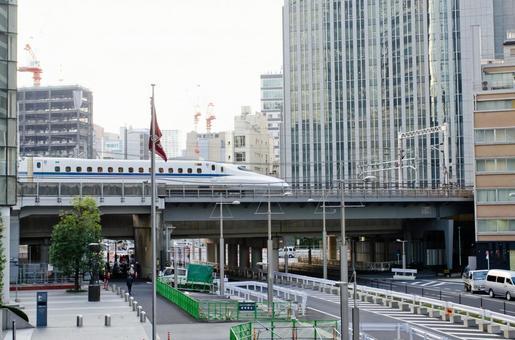 Shinkansen in the city