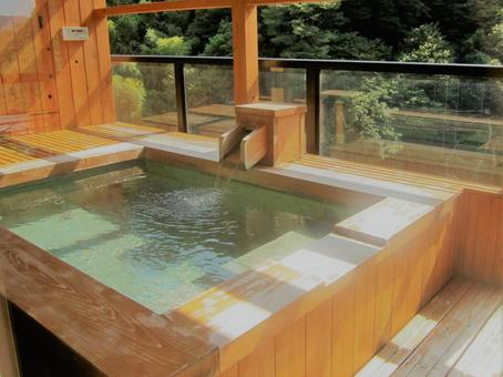 Japanese cypress bath in guest room with open-air bath