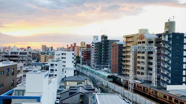 西鐵列車和城市景觀