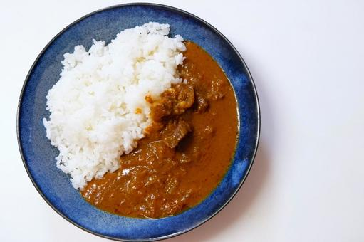 Curry rice and blue plate