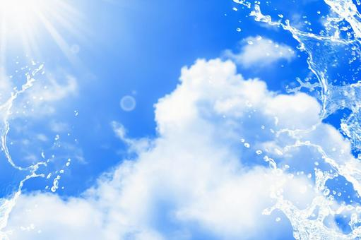 Cumulonimbus clouds in the summer sky with vigorous splashes ・ Free background image ③