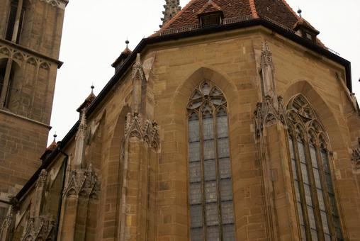 Stained glass of St. Jacob's Church from the outside
