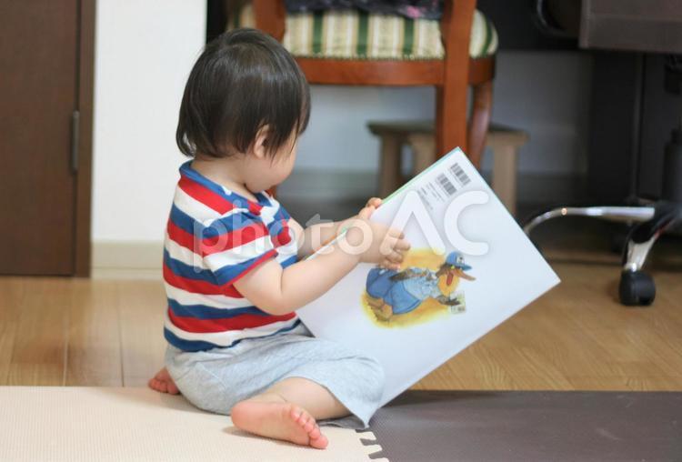 本を読む幼児の写真