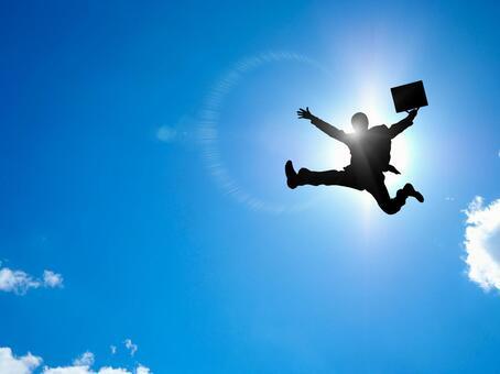 A leaping salaryman
