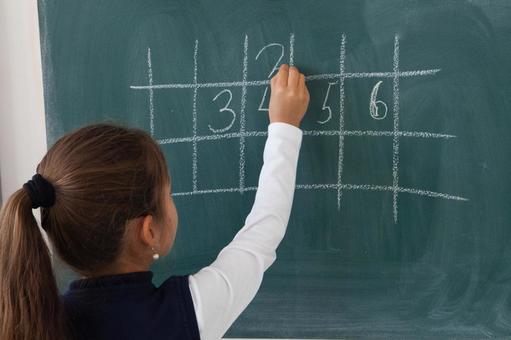 小学学生在黑板上写17