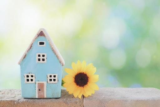 Mini sunflower and blue house