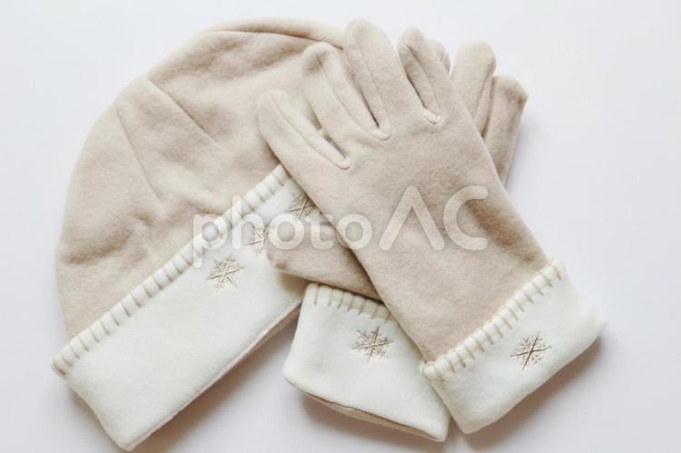 冬の帽子と手袋の写真