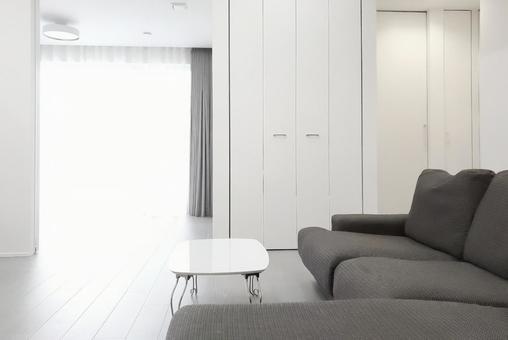 Newly built simple modern living room