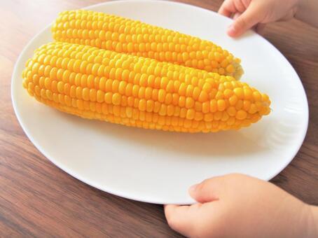 옥수수와 아이의 손