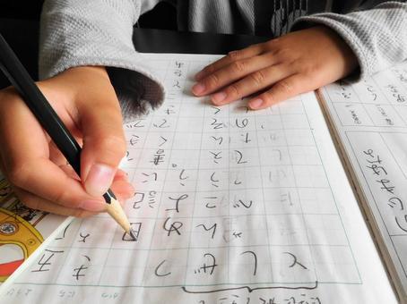 Elementary school student studying Japanese