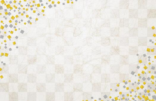Japanese paper texture background material with checkered pattern and gold leaf silver leaf