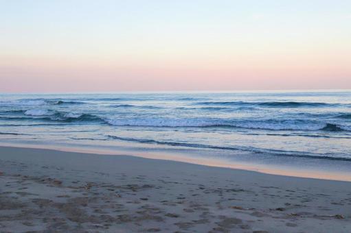 Morning sea beach morning glow sandy beach landscape