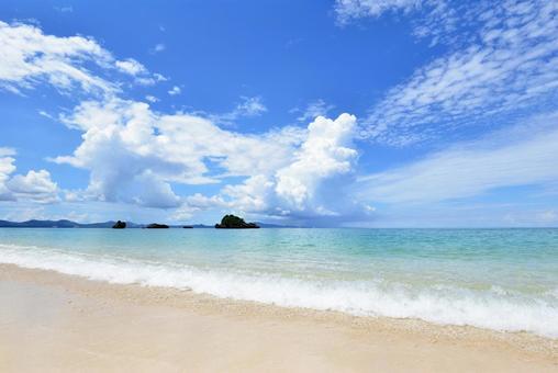 Okinawa's blue sea blue sky white sand beach