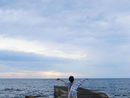Deep breathing towards the sea 1